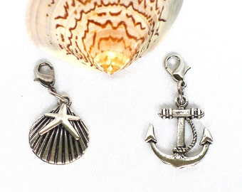 anchor charm silver tone, shell charm, anchor pendant, shell pendant, nautical jewelry, anchor jewelry, beach jewelry women, girls