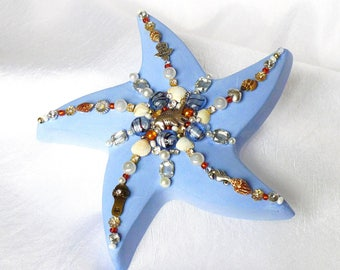 Starfish, blue sea animal, jewelry mosaic art, nautical beach art decor, jewelled starfish, bath decor, women gift, beach wedding favors