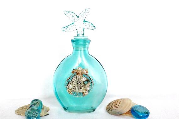 Glasflasche Turkis Mit Schmuck Muscheln Meerjungsfrau Und Etsy