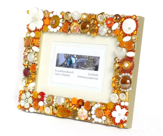 Bilderrahmen Gold Orange Holz Bilderrahmen Mixed Media Art Etsy