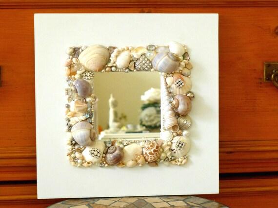 wandspiegel holz wei er spiegel mosaik art maritime kunst etsy. Black Bedroom Furniture Sets. Home Design Ideas