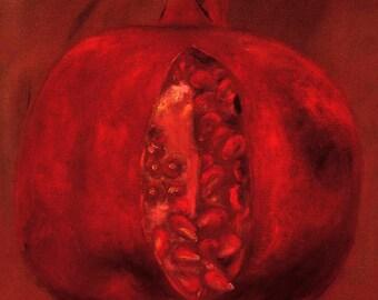 Pomegranate Decorative Ceramic Art Tile Coaster. 4.25 inches.