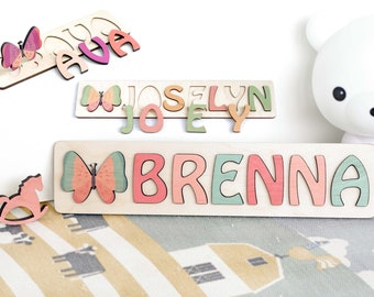 Pastel Name Puzzle, Baby Shower Gift, Baby Name Sign, 1st birthday, Baptism Gift, Busy Board Puzzle, Child Wood Puzzle, Kids Room Decor
