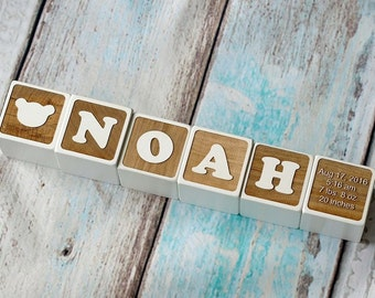 personalized wood name blocks alphabet baby custom letters wooden toy natural nursery home decor