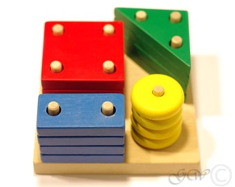 Educational eco-friendly wooden put-through geometric blocks Z502