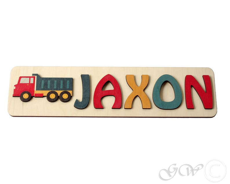 Personalized Name Puzzle with Truck Wooden Custom Name Sign image 0