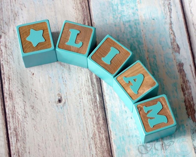 Personalized Wood Name Blocks Alphabet Baby Custom Letters image 0