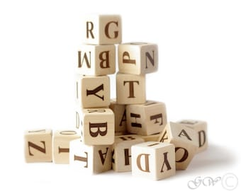 Wooden letter blocks, Wooden alphabet blocks, English alphabet