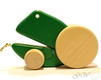 Wooden Toy, Pull Along Frog, Wooden Frog Z401