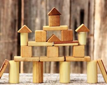 SALE! Handmade wooden blocks, eco friendly toys, children wooden toys.