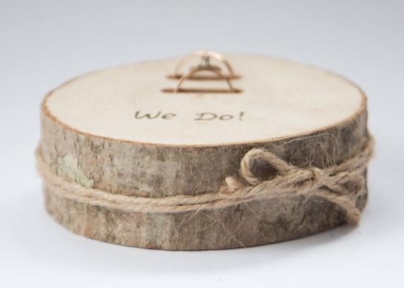 Rustikale Ring Inhaberaktien Kissen Hochzeit Holz Scheibe Etsy