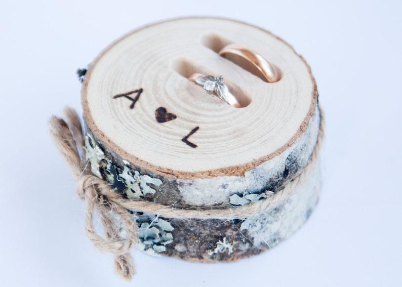 Rustieke ring drager kussen bruiloft houten slice rustieke image 0
