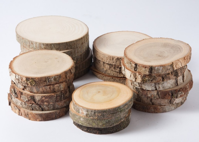 SALE 10 assorted wood slices rustic wood slices for DIY image 0