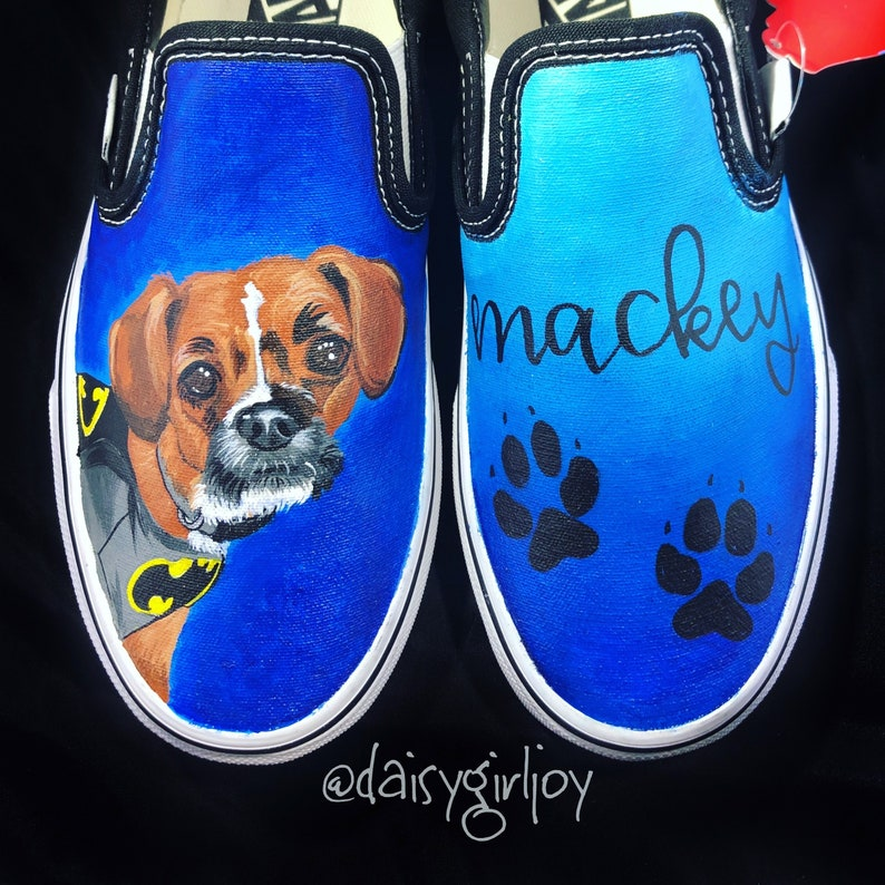 59caf810e0 Custom hand painted Pet Dog Cat Portrait Vans shoes