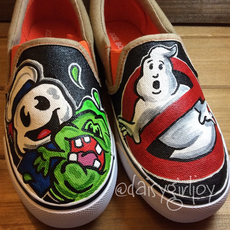 0671f1d443c87 Custom Hand Painted Shoes Ghostbusters Slimer Staypuft