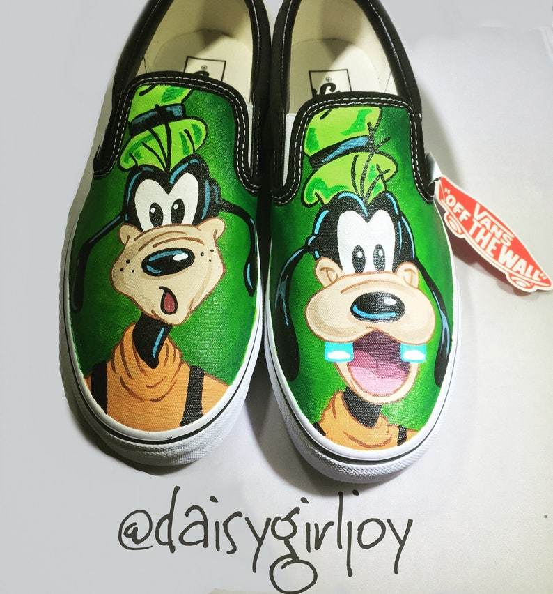 3422fb8665 Adult Vans Brand Custom hand painted Disney Goofy slip on