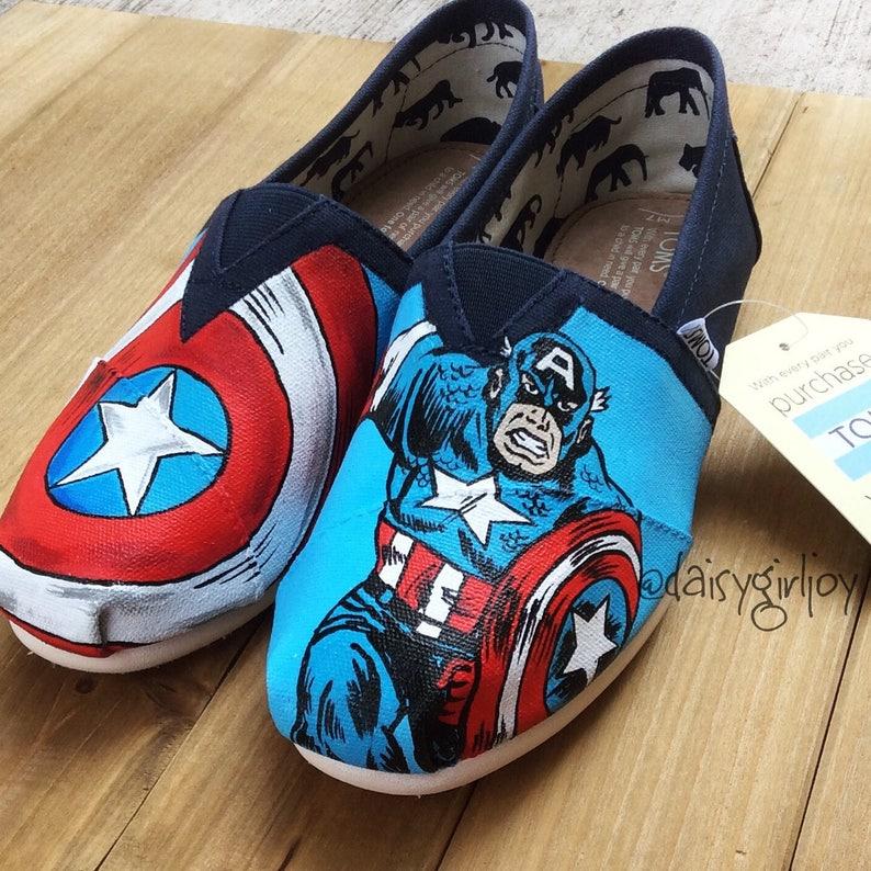 1c3050a4da1b Custom hand painted Captain America Marvel DC Comics shoes