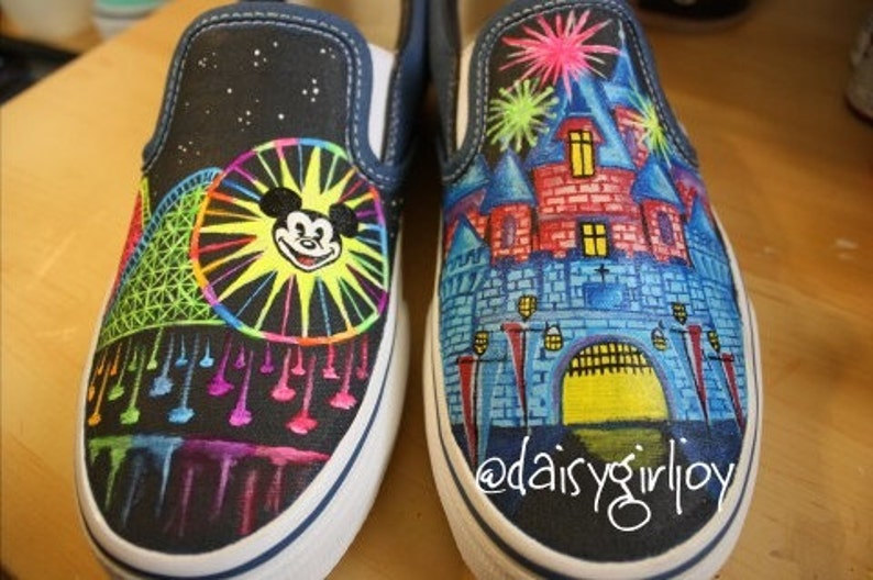 0703e0acfafd76 Vans Brand Custom hand painted Disney theme world of color