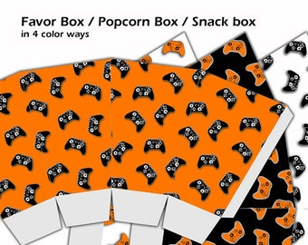 Video Game Birthday Gaming Party Popcorn Box DIY Printable Candy Box Gamer Party Printable Snack Box Video Game Party Favor Box