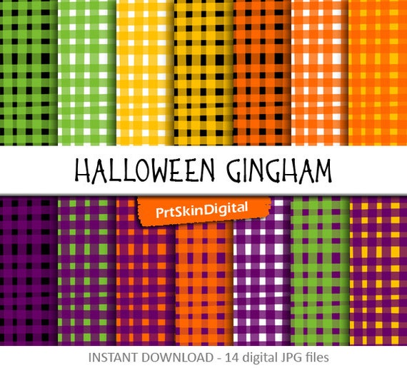 Halloween Gingham Digital Paper Pack In Orange Purple Green Black And Yellow For Scrapbooking Invitations Holiday Decor Cards Crafts By Prtskindigital Catch My Party
