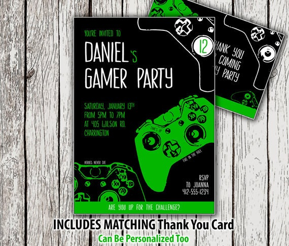 Gamer Party Invitation Printable Video Game Birthday Thank You Card Invite Custom