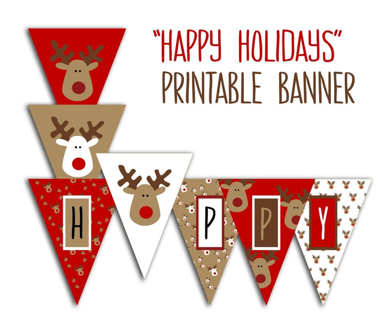 photo regarding Happy Holidays Banner Printable known as Satisfied Holiday seasons Banner - Xmas Occasion Printable Signal, Xmas Bunting, Pink White Brown Reindeer Do it yourself Printable Banner Quick Obtain