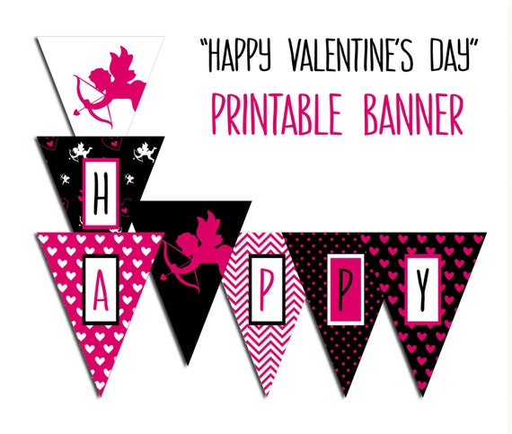 picture relating to Happy Valentines Day Banner Printable referred to as Valentines Working day Banner, Pleased Valentines Working day - Valentine Bash Printable Indication, Purple Black Cupids, Hearts, Dots, Chevron Do it yourself Prompt Down load