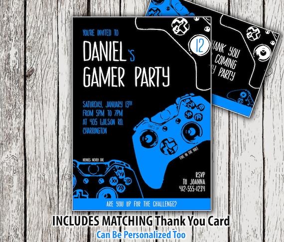 Printable gaming party invitation video game birthday invitation il570xn filmwisefo