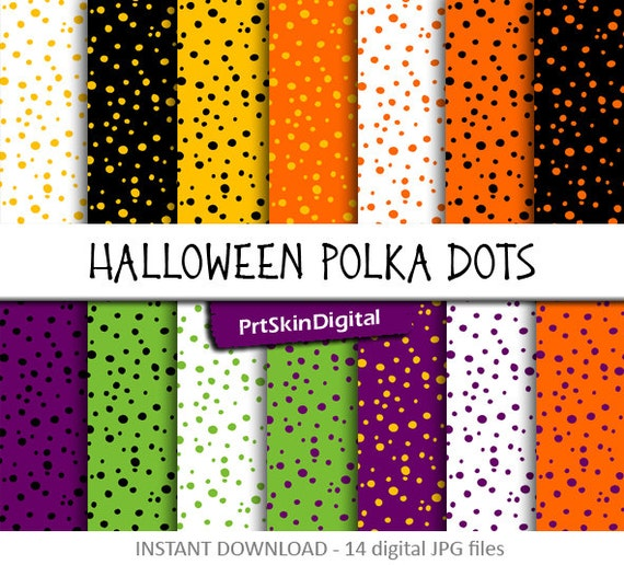 Halloween Polka Dots Digital Paper Pack In Orange Purple Green Black Yellow For Scrapbooking Invitations Holiday Decor Cards Crafts By Prtskindigital Catch My Party