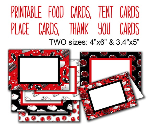 Printable Casino Food Cards Poker Party Food Tags Thank You Labels