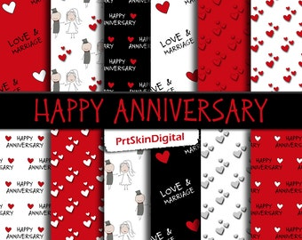 Happy Anniversary Digital Paper Pack in Red, Black and White for scrapbooking, invitations, cards, crafts, Valentine's Day, Love & Marriage