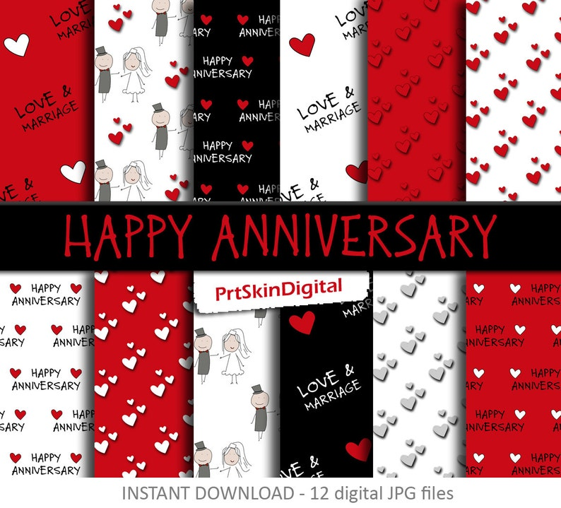 Happy Anniversary Digital Paper Pack in Red Black and White image 0