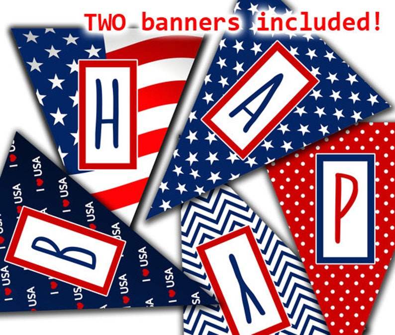 Happy Birthday 4th Of July Banner Printable Red White And Blue Banner American Flag Banner Instant Download 4th Of July Birthday Party