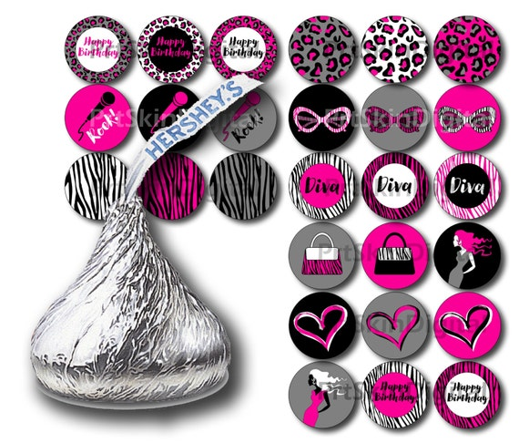 diva party hershey kiss stickers printable stickers girl birthday