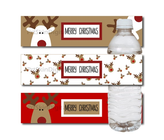Merry Christmas Reindeer Water Bottle Labels In Red White Golden