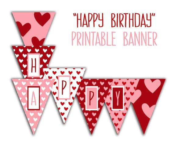 happy birthday banner birthday party printable sign red etsy