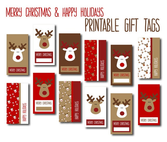 graphic regarding Merry Christmas Tags Printable known as Electronic Xmas Reward Tags - Pink, White Brown Reindeers