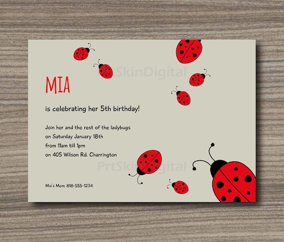 Ladybug Birthday Invitation Printable Baby Shower Party Lady Bug