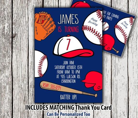 Baseball Invitation And Thank You Card Birthday Printable Party Invitations Invite