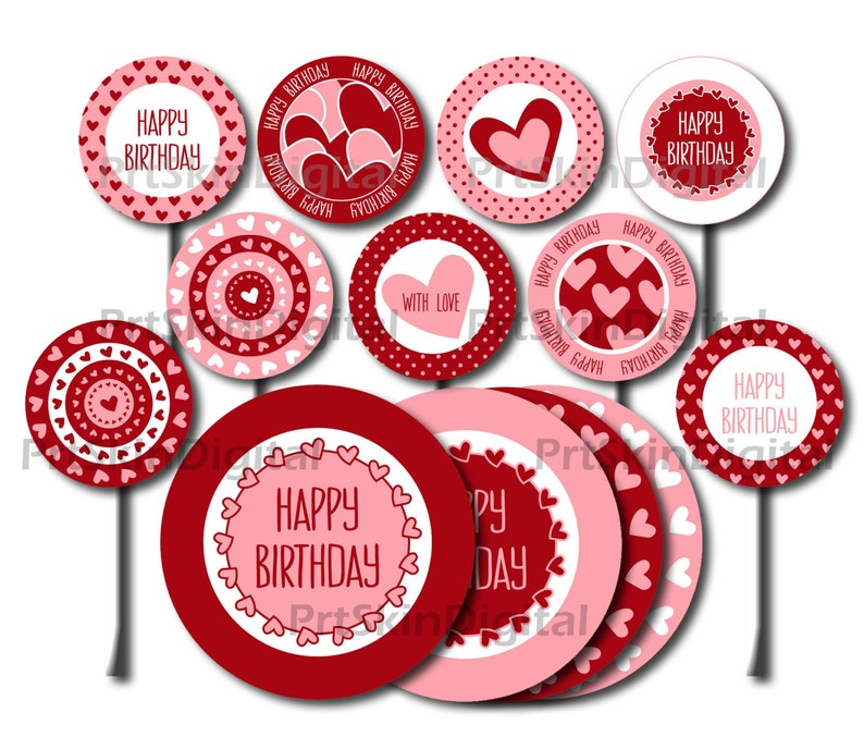 Printable Cake Toppers Happy Birthday Red Pink Hearts Dots