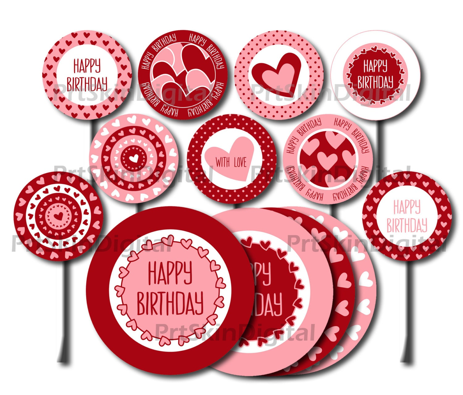 Printable Cake Toppers Happy Birthday Red Pink Hearts & Dots   Etsy