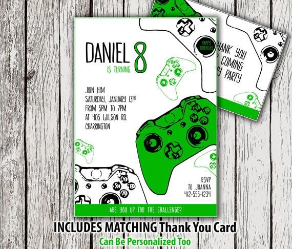 Printable Video Game Birthday Invitation Thank You Card Gamer