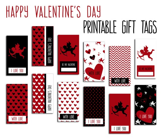 Digital Valentines Gift Tags Red White Black Cupid Hearts