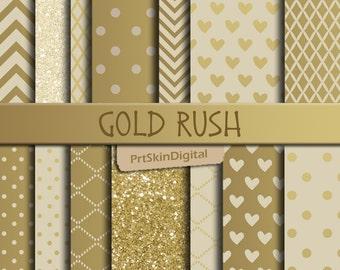 Gold Digital Paper, Gold Glitter Digital Paper, Gold Dots Digital Paper, Metallic Digital Paper, Gold Chevron, Heart Digital Paper