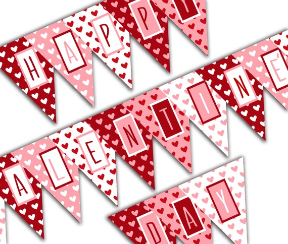 picture regarding Happy Valentines Day Banner Printable identified as Valentines Working day Banner, Content Valentines Working day Banner, Valentine Get together Printable Indicator, Crimson Red Hearts Do-it-yourself Printable Banner Instantaneous Down load
