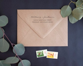 Return Address Stamp - Rubber Stamp with Wooden Handle - Heirloom Bloom