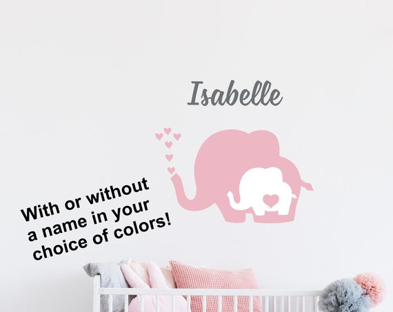 Baby Elephant Nursery Decal with Heart and Name