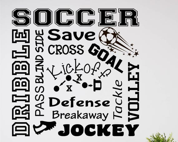Soccer Decal for Boys Room / Soccer Decal / Soccer Stickers / Soccer Decor for Boys Room / Soccer Word Art 2 / Soccer Wall Decal
