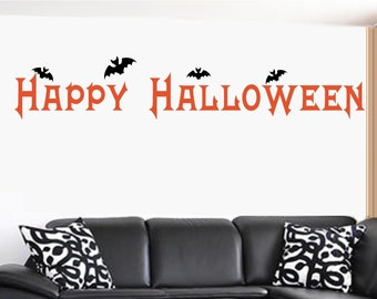 Happy Halloween with Bats Vinyl Halloween Wall Decal Sticker