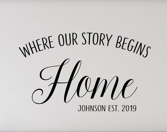 Home is Where Our Story Begins Decal Personalized with Family Name and Established Year